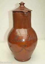 poterie - grande cruche couverte en grés vernissée daté 1916
