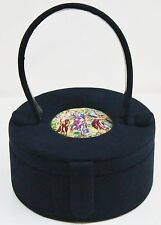 Custom Made by LILLI STALY Vintage Suede Tapestry Round Pillbox Handbag Purse