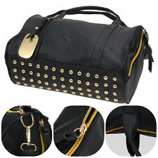 Womens Rivet Shoulder Bag Travel Luggage Gym Bag Duffle Handbag weekender bag