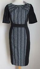 Bnwt Per Una Black Mix Panel Pleat Detail Pencil Dress UK 14 - RRP £45 (B69)