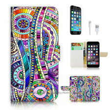 iPhone 6 6S (4.7') Flip Wallet Case Cover P2455 Aztec Abstract
