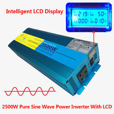 2500W/5000W Peak Pure Sine Wave Power Inverter DC 12V to AC 220V Caravan LCD NEW