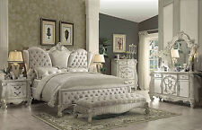 CLARICE-5pcs Euro Traditional White King Upholstery Panel Bedroom Set Furniture