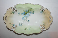 Vtg HP Bone China Floral Pierced Handle Oval Serving Dish Bead Scallop Rim Gilt