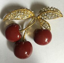 Joan Rivers Costume Jewelry Cherry Blossom Pin Brooch Pave Crystal In Gold Stamp