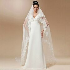 """SPECIAL Ivory 1T 1 Tier Spanish 4"""" Lace Cathedral 105"""" Long Drop Wedding Veil 17"""