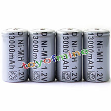 4x D Size D-Type D Type 13000mAh 1.2V Ni-MH Rechargeable Battery Cell Grey