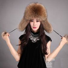 Women's Real Genuine Raccoon Fur Russian Winter Covered Ear Hat Cap Warm