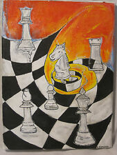 Chess canvas painting trip abstract art wall  king game original picture artwork