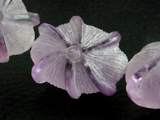 Natural Pink Amethyst Frosted Carved Fancy Flower Oval Gemstone Bead