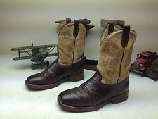 USA DOUBLE H SQUARE TOE STEEL TOE LEATHER WESTERN COWBOY ENGINEER BOOTS 9.5D