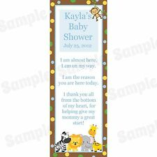 24 Personalized Baby Shower Bookmarks - Zoo Animals