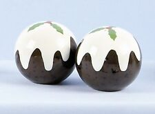 CHRISTMAS PUDDING IN CERAMICA PORTA SALE E PEPE Cruet Set Nuovo