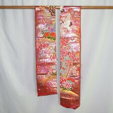 """Pink Shimmer"" Japanese Wedding Kimono Fabric Remnants Uchikake Crafting"