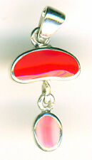 925 Sterling Silver Red Coral & Pink Lace Agate Pendant  Length 30mm 1.1/5""