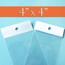 200 Square, Clear Cello Bags: 4 x 4 Inch^ HANG TOP,Resealable Self Adhesive 4x4*