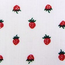 White Cotton Small Strawberry Print Fabric Fruit Summer