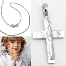 Jungen Baby Taufkette Kinder Kommunion Kreuz Kette Einschulung Echt Silber 925