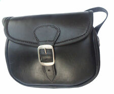NEW BLACK LEATHER CARTRIDGE BAG FOR SHOOTING WITH CANVES BEL