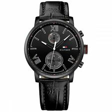 *BRAND NEW* Tommy Hilfiger Men's Black Chronograph Black Leather Watch 1791310