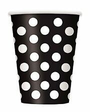 BLACK POLKA DOTS - 6 Paper Cups - (12oz) Spots Birthday Party