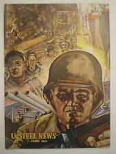 VINTAGE 1943 US STEEL NEWS MAGAZINE STEELWORKERS & ARMY GI PILOTS COVER ART