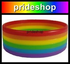 Rainbow Rings Silicone WIDE Wristband Gay Lesbian Rainbow Store Wrist Band #88