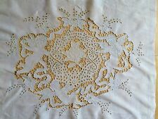 VINTAGE LINEN PANEL FIGURAL CUPIDS ANTIQUE ITALIAN EMBROIDERY OPENWORK EXQUISITE