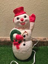 """Vintage Christmas 13"""" Dapol Waving Snowman With Wreath & Cane Lighted Blow Mold"""