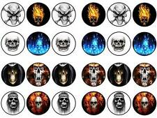 24 skulls horror gothic Halloween bun fairy cupcake toppers party edible paper