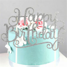 silver shine Cake Topper Happy Birthday Party Supplies Decorations Fashion decor