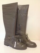 NIB Anthropologie Lucky Penny Dawn Gray Leather Knee Boots *Buckle & Tassels 8