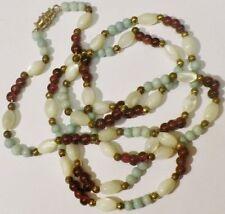 collier bijou vintage petite perles déco relief blanche pas de vis * 5339