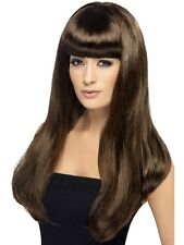 Womens Girls Brown Babelicious Wig Long Straight Fringe Katy Perry Colour Hair