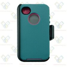 For iPhone 4/4S Defender CYAN TEAL Case Cover w/Clip&Build in Screen Protector
