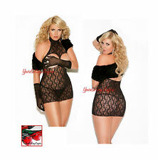 VIVACE Queen Size BLACK LACE CUPLESS HALTER Mini Dress Chemise 1x/2x PLUS SIZE