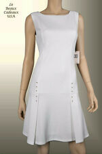 IVANKA TRUMP Women Dress Sze 14 WHITE Metal Accent Sleeveless Knee Dressy LBCUSA