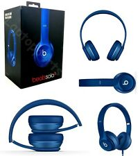 Genuine Beats Solo 2 By Dr Dre HD Wired On Ear Headband Headphones Headset Blue
