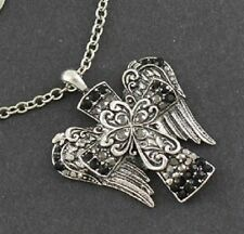 Cross with Angel Wings, Clear & Black Crystals, Pretty Religious Necklace #79-F