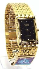 New Citizen Man, Gold-tone, Analog Quartz, Black-dial  Dress Watch