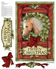 Welcome Christmas Wreath Horse Cotton Print Quilting Fabric Panel Springs 54685