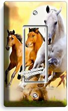 LIPIZZAN STALLION & MUSTANG HORSES SINGLE GFCI LIGHT SWITCH WALL PLATE ART COVER