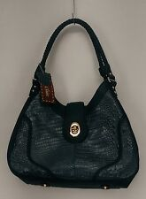"Madi Claire Sz Large ""Nikki"" Triple Compartment Hobo Bag Teal Green NEW"