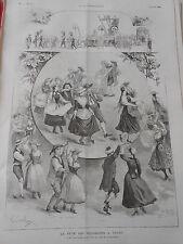 Gravure 1889 - La Fête des Vignerons à Vevey - La valse de Lauterbach