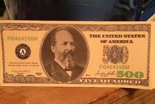 $500 Dollar Bill Novelty Joke Funny Fun Looks Real But Not