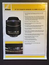 Genuine Nikon AF DX Fisheye Nikkor 10.5mm f/2.8G ED Lens sales brochure Sheet