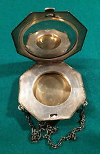 Antique 925 Sterling Compact, Ladies' Mirrored Powder Case with Chain $150