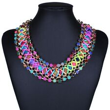 multi color bead multi strand plaited chain chunky collar necklace Halskette