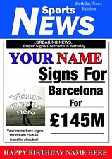 Football Personalised Barcelona Birthday Greeting Card Add Photo Name age