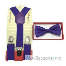 charming Purple toddler bow tie and suspenders set - for baby boy/girl